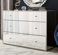 3 drawer chest wooden cabinet sideboard bedroom mirrored furniture