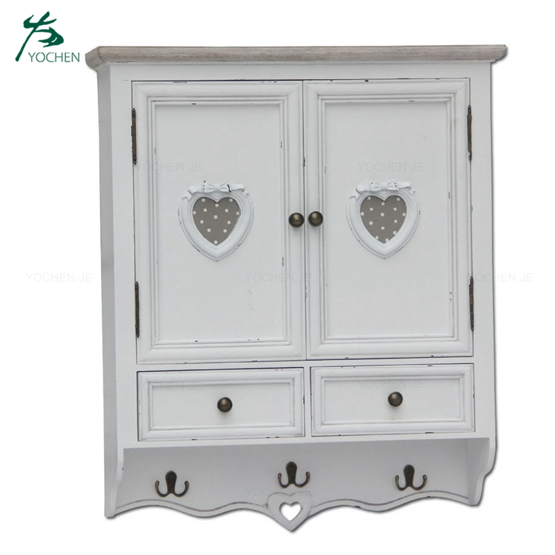Antique white plywood wall mounted wood storage cabinet
