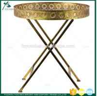 Metal Round Butler Tray Table Antique Gold