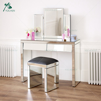 Angled 2 Drawers Mirrored Dressing Table with Stool and Mirror Set