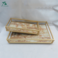 Luxury rectangle marble vanity glass mirror tray