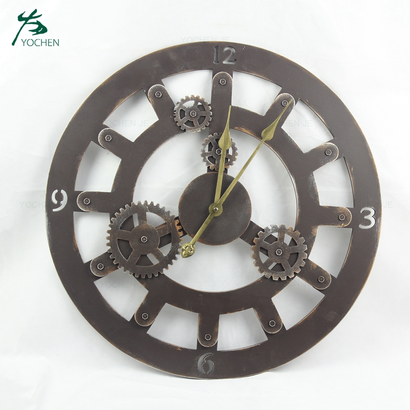 Wholesale vintage home decorative metal digital wall clock