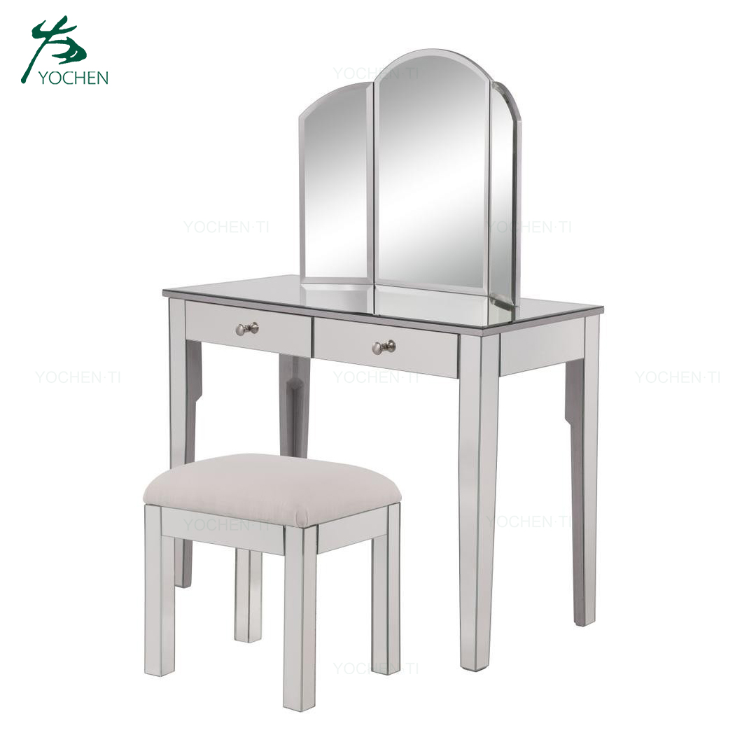 Bedroom furniture modern mirrored dressing table with drawer