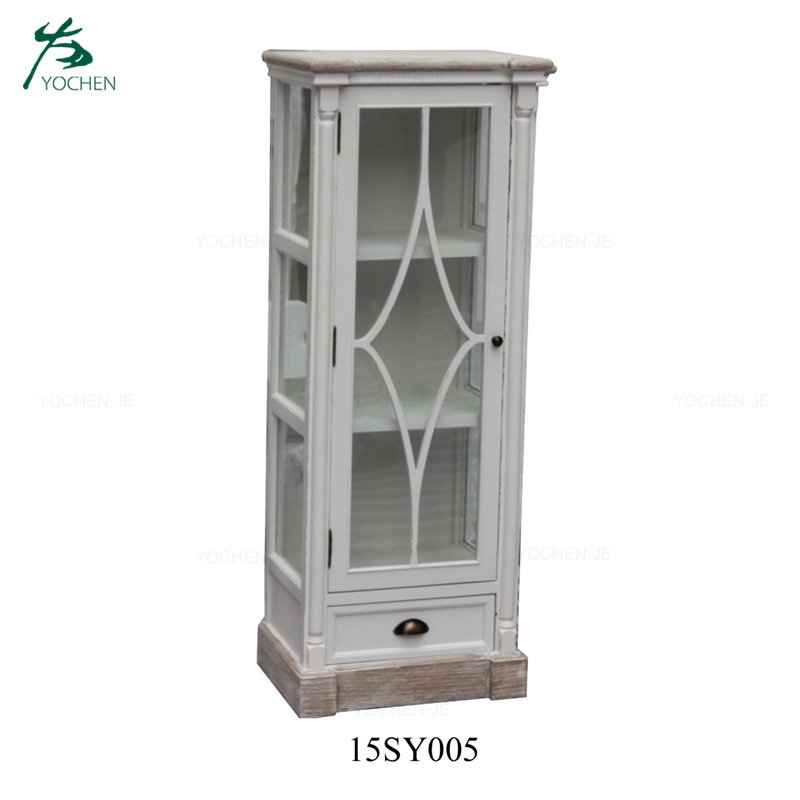 French reclaimed antique white wooden wine cabinet