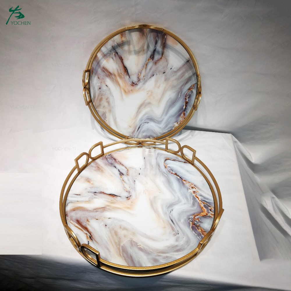 Restaurant Hotel Metal Mirror Tray Marble Decorative Serving Tray