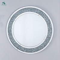 Value Diamond Crush Mirrored Venetian Glass Round Mirror