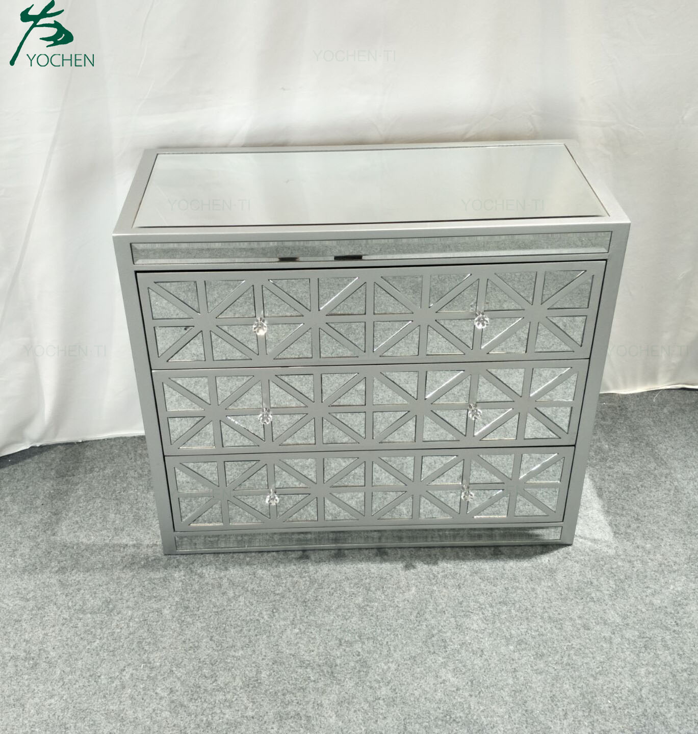 Mirrored furniture 5 Drawers Tallboy Chest of Drawers Storage Cabinet