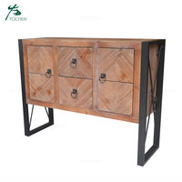 industrial furniture black metal leg antique wooden cabinet