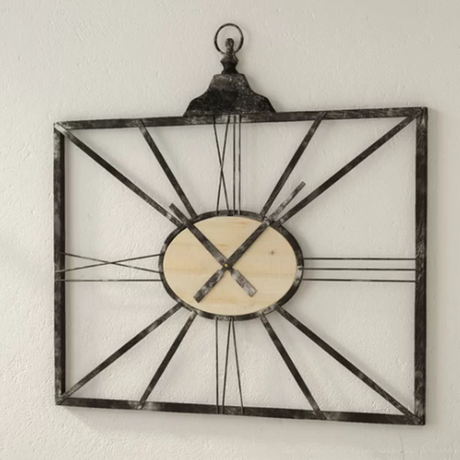 Industrial Square Black Metal Antique Wall Clock