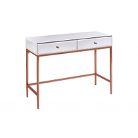 Rose gold Stainless Steel white glass mirrored furniture console table with mirror