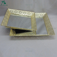 Gold Painting Metal Serving Tray Set