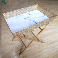 Faux Marble Top Metal Folding Tray Table