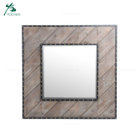 Nailhead wooden rustic wall mirror frame