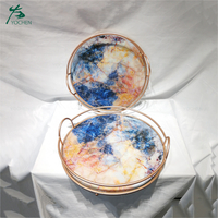 Set of 2 marble gold metal decorative serving tray