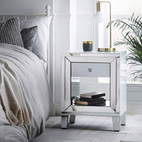 bedroom mirrored furniture bedside shelf
