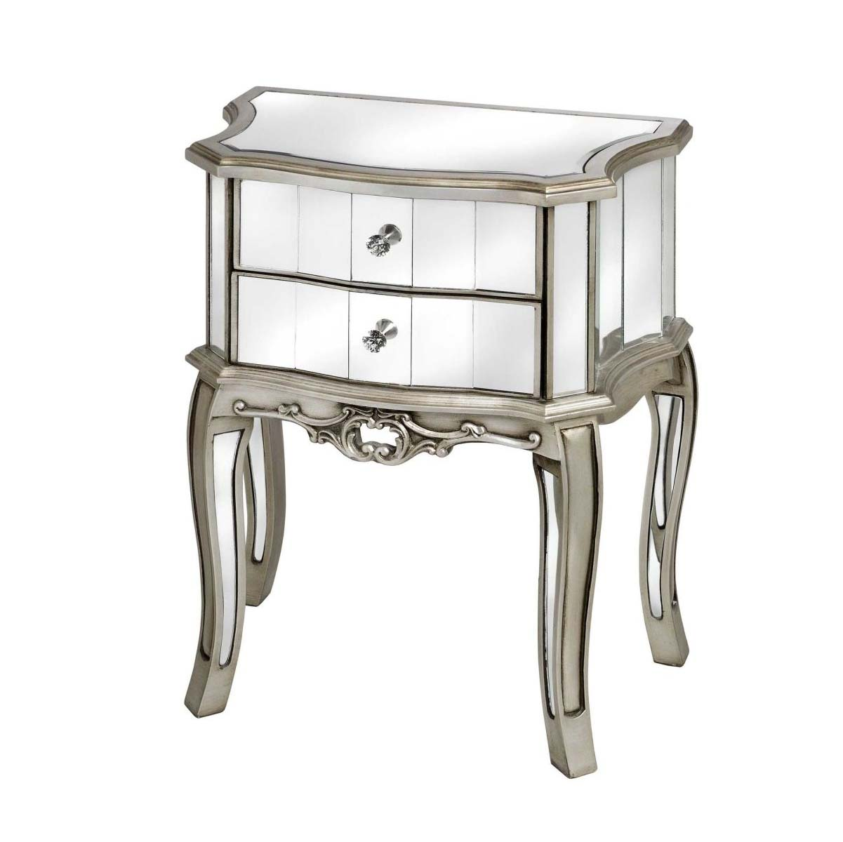 2 Drawer Silver Mirrored Bedside Table