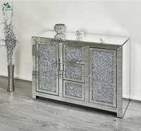 Storage Mirrored Living Room Diamond Crush Sideboard Cabinet