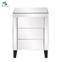 Amazon Best Seller Silver Mirrored Nightstand With 3 Drawers