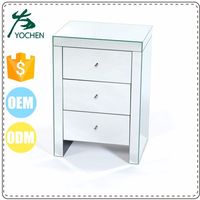 Venetian Mirrored 3 Drawer Slim Bedside Table