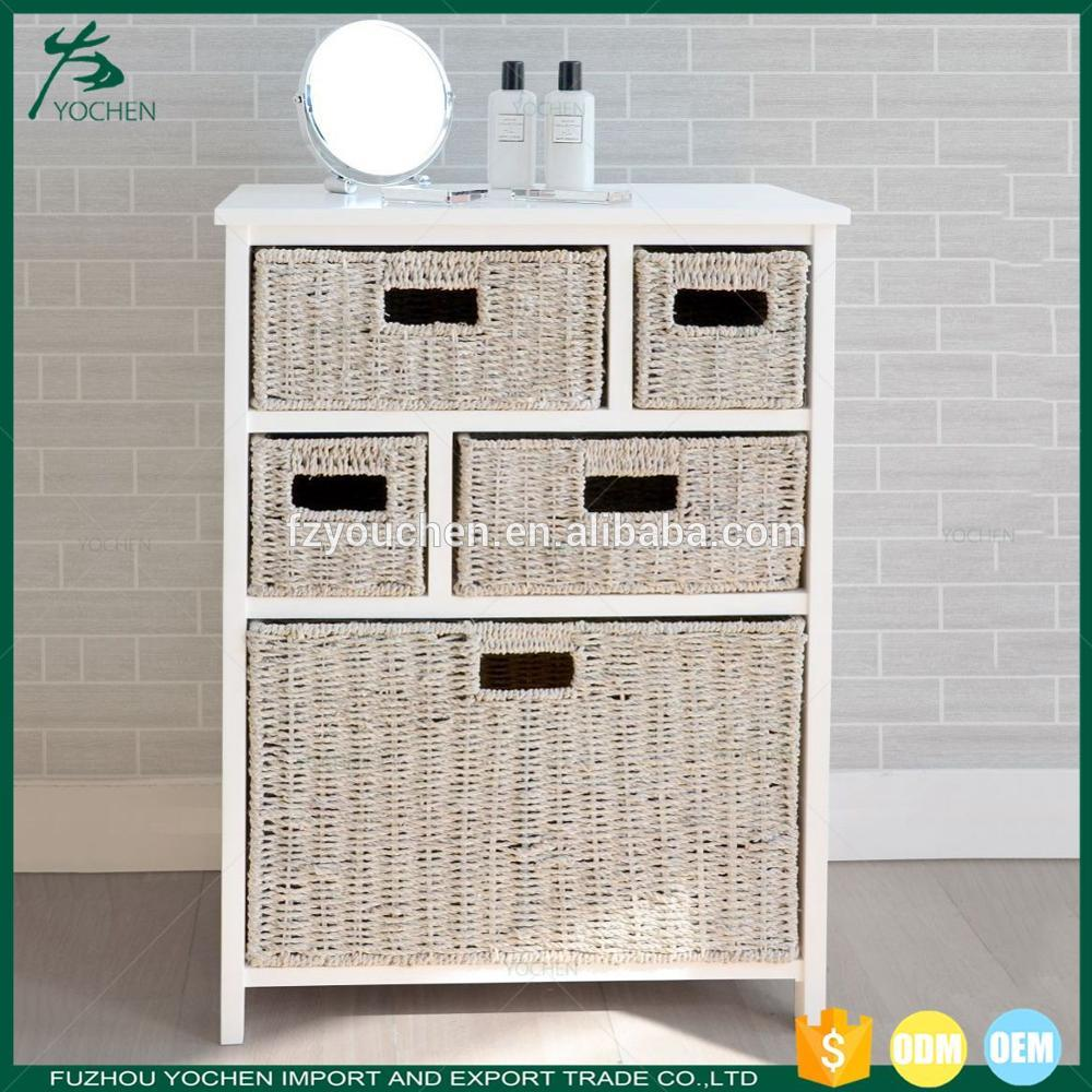 Classic White and Brown Wooden Storage Cabinet 5 Basket Storage Unit