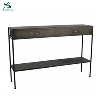 Modern black metal industrial wrought iron console table
