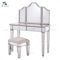mirrored dressing furniture modern dressing table with mirror and stool