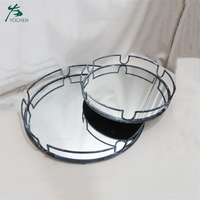 Home Decorative Metal Frame Glass Mirror Tray