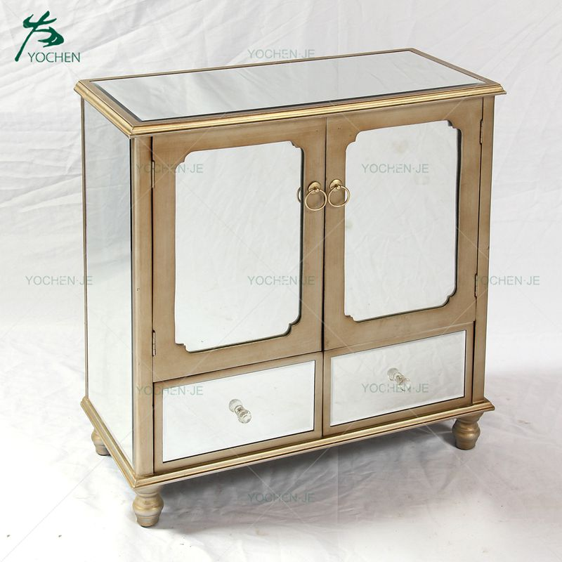 Antique Gold 5 Drawer Wooden Chest With Mirror Panels