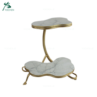 Hotel decorative metal marble storage food tray with legs