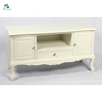 French classic hand carved wooden furniture white tv cabinet for living room