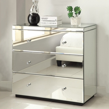 Modern bedroom mirrored 3 drawer chest of drawers