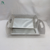 Square Mirrored Serving Tray Silver Mirrored Tray Decor With Handles