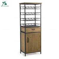 Living Room Metal Wood Antique Wine Rack Cabinet