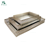 Decorative rectangle mirror tray vintage glass mirror metal tray
