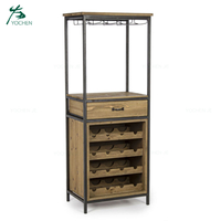 Industrial Vintage Iron Wood Home Wine Corner Bar Cabinet Furniture