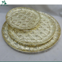 Set of Three Tray LACE EDGING SERVING PLATE Gold Vintage