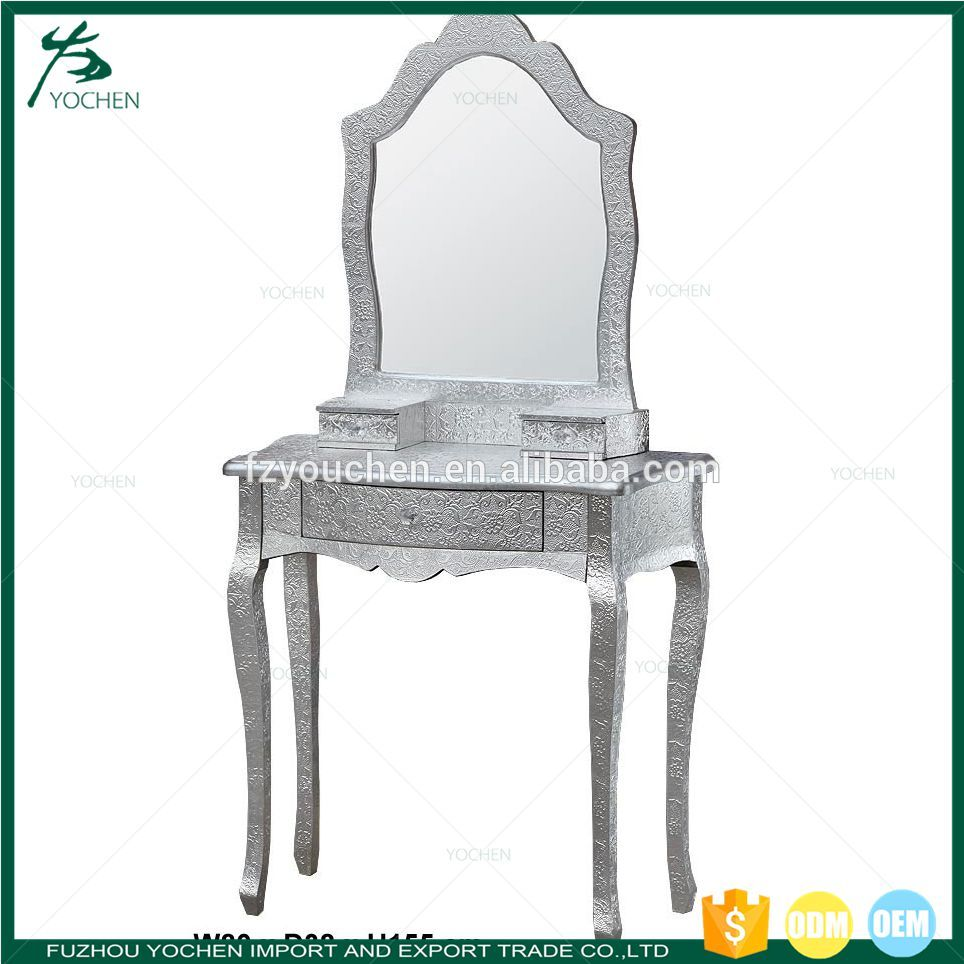 Moc Croc Silver Dressing Table and Mirror Vanity Set