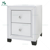 White Glass Two Drawers Wooden Mirrored Side Table Bedroom