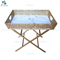 Faux Marble Tray FoldingTable Leg Base Living Room Table