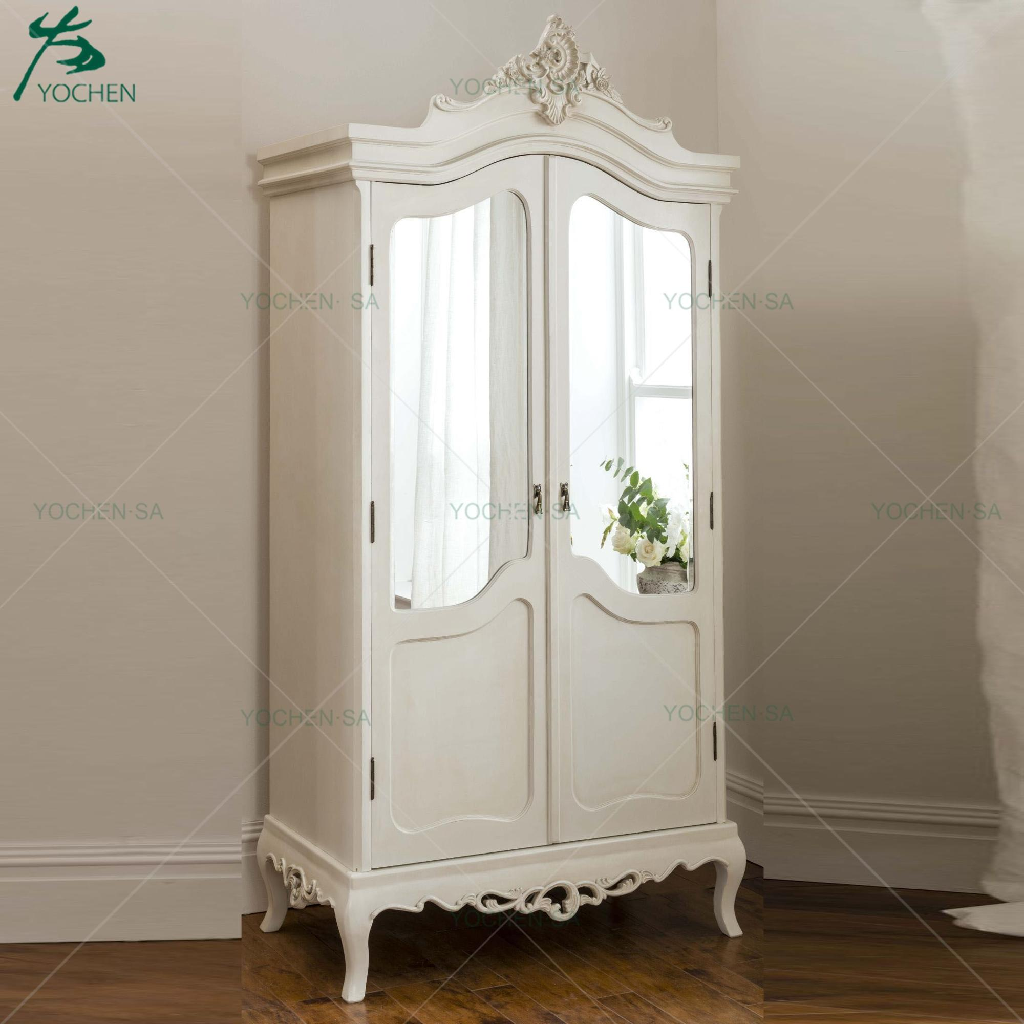 French Wooden Carved White Clothe Cabinet Wardrobe