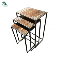 Vintage Industrial Square Nesting Metal Table