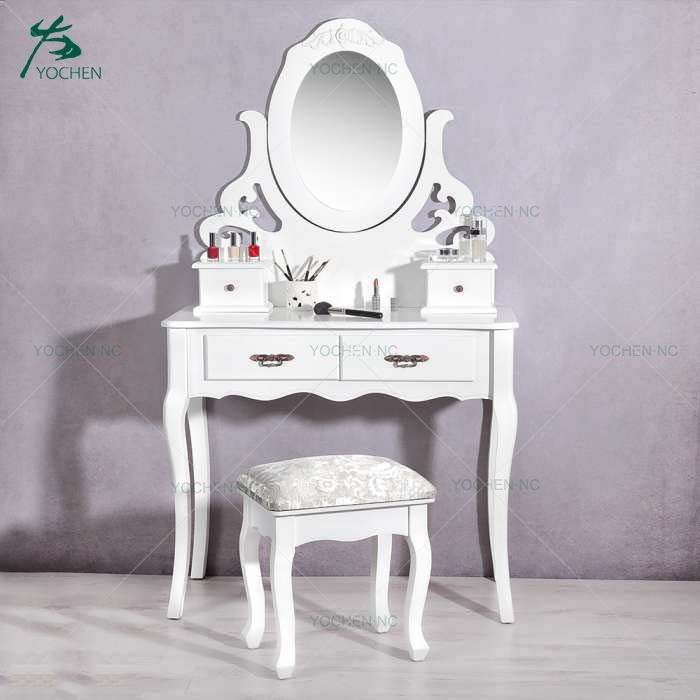 royal style white cosmetic dressing table design