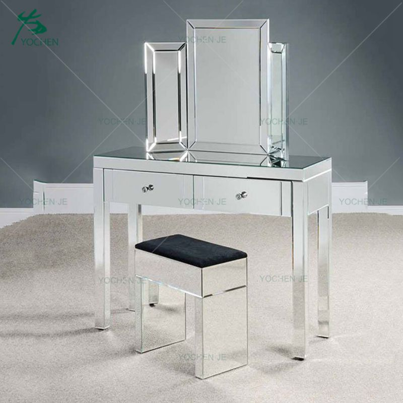 Antique wooden silver mirrored dressing table furniture