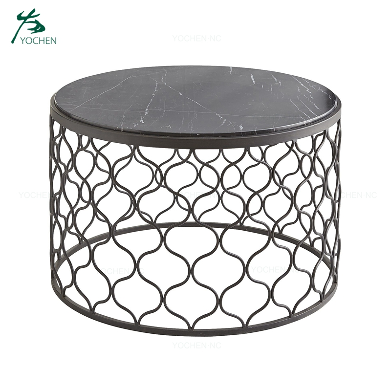 Set of 2 sofa center coffee table round metal side table