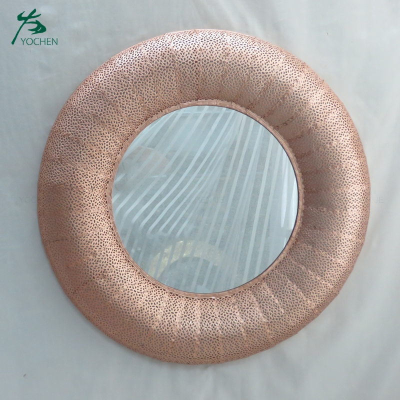 Wall hanging handmade decorative round metal mirror
