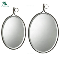 wrought iron decorative teardrops shape wall metal mirror