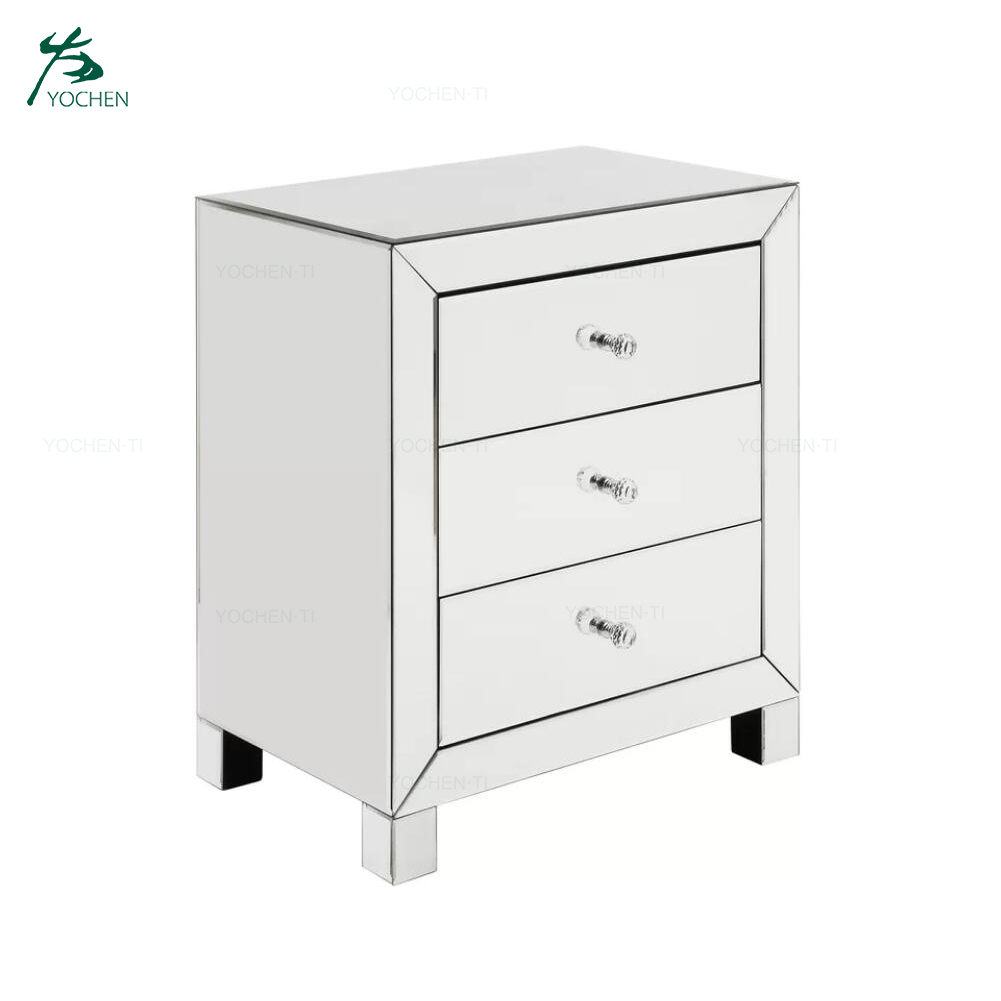 Silver Glass 3-Drawer Mirrored Cabinet Bedside Table Nightstand