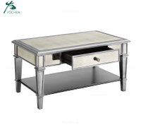 home furniture silver glass modern mirrored coffee table