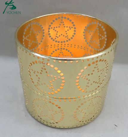 Fancy wall round metal candle holder for home decoration