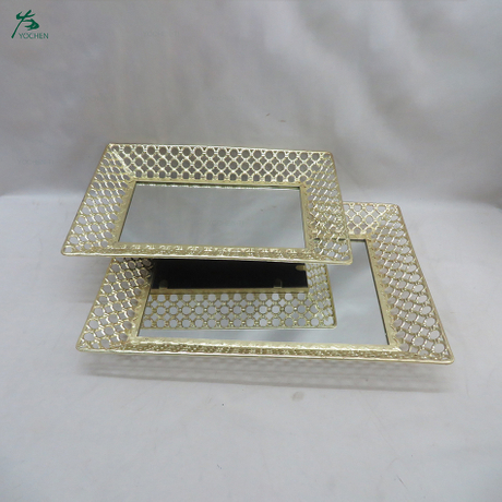 Mirror tray for perfumes vanity tray mirror perfume tray for dresser vanity 2-set